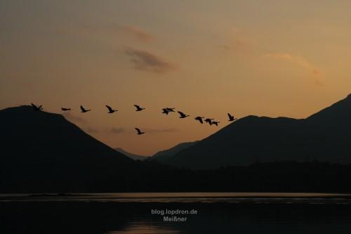 Sonnenuntergang über Derwent Water.