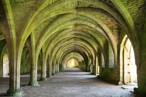 Fountains Abbey - the monks' cellarium